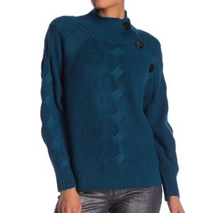 Laundry Blue Mock Neck Cable Sleeve Sweater